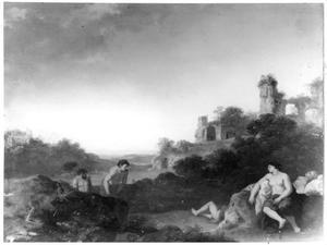 Landschap met nimfen en saters