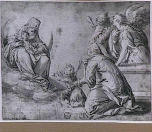 Madonna op de maansikkel, met de Heilige Elizabeth, Johannes de Doper als kind en engelen