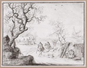 Winterlandschap met rustende houtsprokkelaars en ruiters