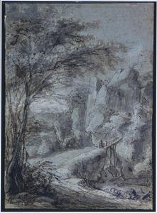 Berglandschap met figuren op een brug over een rivier