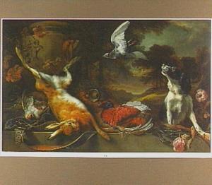 Jachtstilleven met een haas, vogels en een hond naast een geornamenteerde tuinvaas; op de achtergrond een doorkijk naar een bosachtig landschap