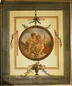 Trompe l'oeil met medaillon verwijzend de liefde