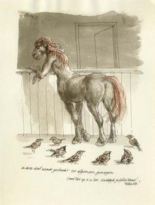 Brief aan Piet Clement met tekening van een centaur in een stal met mussen