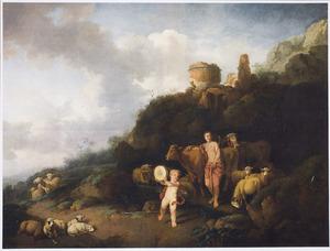Arcadisch landschap met herderin en putto