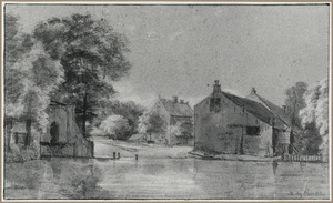 Huizen en bomen aan de oever van een rivier