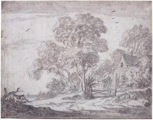 Landschap met bomen en boerderij
