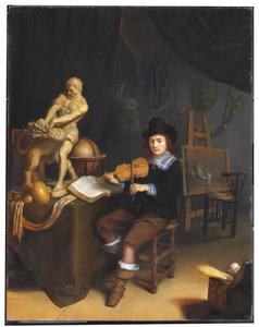Een jonge man speelt viool in een schildersatelier (zelfportret?)