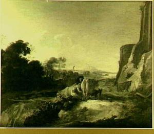 Zuidelijk landschap met herders bij het melken