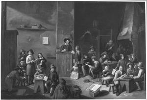 Een schoolklas met veel figuren