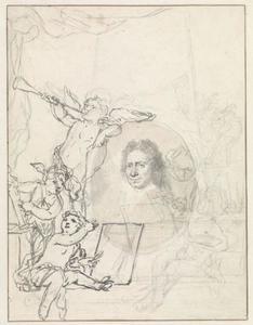 Portret van Johannes Bronckhorst (1648-1727), omgeven door putti