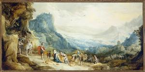 Berglandschap met de ontmoeting van David en Abigaïl, die hem mondkost voor zijn leger brengt (1 Samuel 25:23)