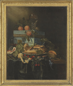 Vruchtenstilleven met een kist en een pastei