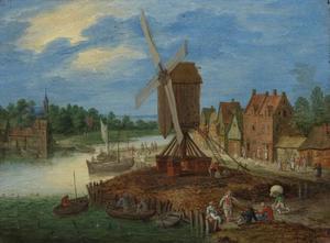 Rivierlandschap met een aanlegplaats bij een dorp met molen