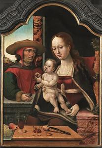 Tronende Madonna met kind en donor