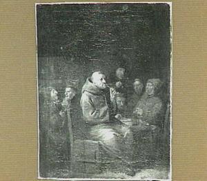 Drinkende en rokende monniken