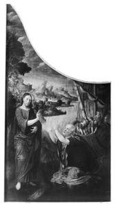 De verschijning van Christus aan het meer van Tiberias, gevolgd door de tweede wonderbare visvangst (Joh.21:1-14) (op de buitenzijde: De kruisdraging)