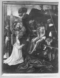 De voorbereidingen voor de kruisiging met stichtster (non uit het klooster Mariënpoel bij Leiden) en de H. Augustinus