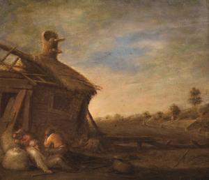 Slapende landlieden voor een ruïneuze boerderij