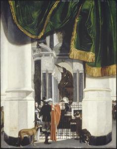 Interieur van de Nieuwe Kerk in Delft met graf van Willem van Oranje