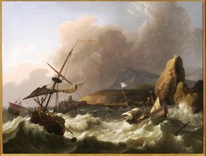 Schipbreuk voor een mediterrane kust