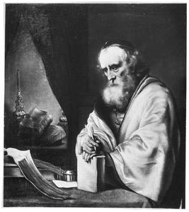 Een oude geleerde in zijn studeervertrek