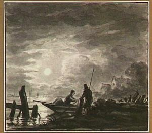 Nachtelijk riviergezicht met roeiboot en figuren