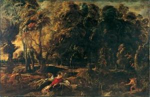 Landschap met de jacht van Melegaer en Atalanta op het Caledonische everzwijn (Ovidius, Metamorfosen, VIII, 229-237)