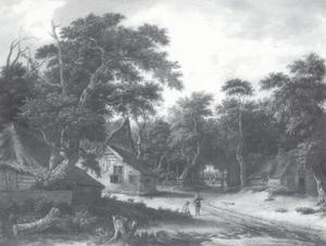 Boerenhutten in een bos