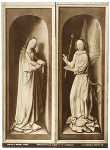 De annunciatie: Maria (links), de engel Gabriël (rechts)