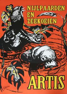 Artis-Affiche: nijlpaarden en zeekoeien  Artis
