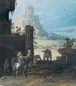 Ruiters en enkele reizigers nabij klassieke ruïines