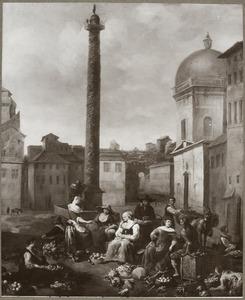 Groentemarkt bij de zuil van Trjanus in Rome, rechts S. Maria di Loreto