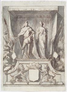 Ontwerp voor een eretroon met de de graaf van Monterey en een allegorische vrouwenfiguur
