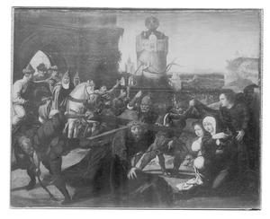 De kruisdraging (op de achterzijde: een rode marmerimitatie met de wapens van Hendrik III van Nassau en Mencia de Mendoza)