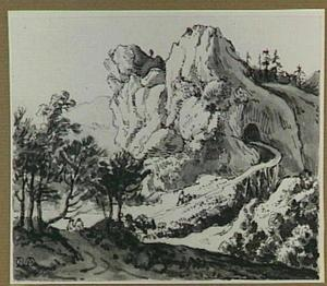 Rotslandschap met houten brug en figuren