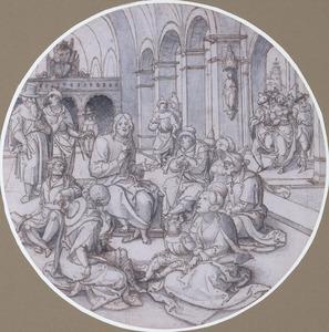 Prediking van Christus in de synagoge (rechts: de Fariseërs met de overspelige vrouw?)