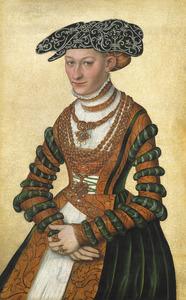 Portret van een vrouw gekleed in een groen fluwelen jurk afgezet met oranje stof een met parels geborduurde zwarte hoed dragend