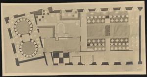 Plattegrond van eerste verdieping Aubette met kleurontwerp voor de vloer