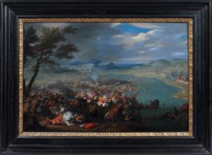 Veldslag tussen Turken en Christenen (de legers van Kara Mustapha en Jean Sobieski aan de Donau?)
