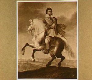 Prins Frederik Hendrik te paard; op de achtergrond Maastricht (?)