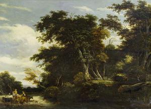 Boslandschap met herders en hun vee bij een beek