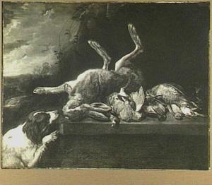 Haas en gevogelte op een stenen plint, links een hond en een doorkijk naar een landschap