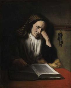 Oude vrouw, slapend boven een boek