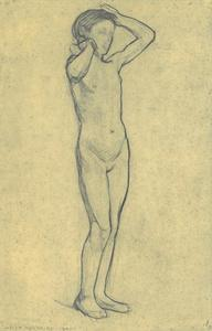 Standing nude girl with raised arms