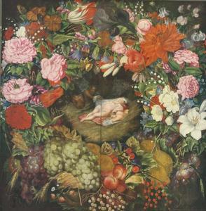 Bloemenkrans rond Diana en haar nimfen die door saters worden verrast