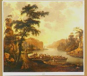 Zuidelijk rivierlandschap met twee schepen bij een aanlegplaats; op de rechteroever vissers met een sleepnet