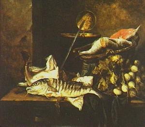 Visstilleven met knollen, schuimspaan, pan en mand
