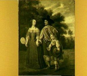 Portret van een onbekend echtpaar met een kind