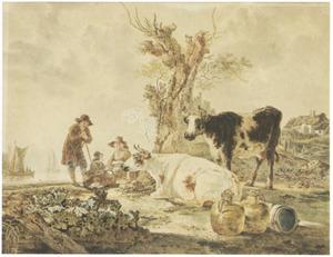 Rustende herders en koeien op de oever van een rivier