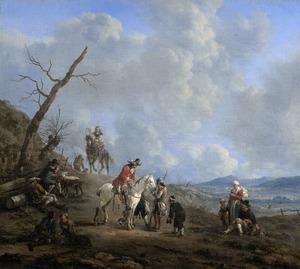 Landschap met ruiters, jagers en landlieden